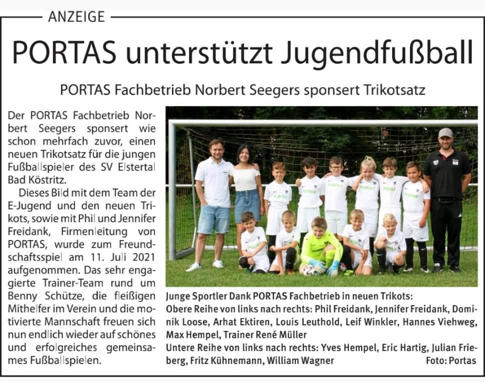 Portas sponsort Trikotsatz